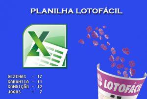 Planilha Lotofácil com 17 dezenas - Garante 11 se acertar 12