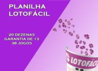 Planilha Lotofácil - 20 dezenas com garantia de 13 pontos em 38 jogos