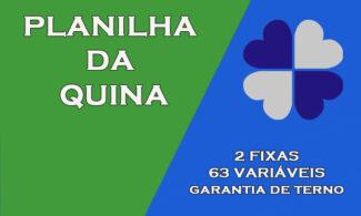 Planilha da Quina - 2 Fixas e 63 Variáveis