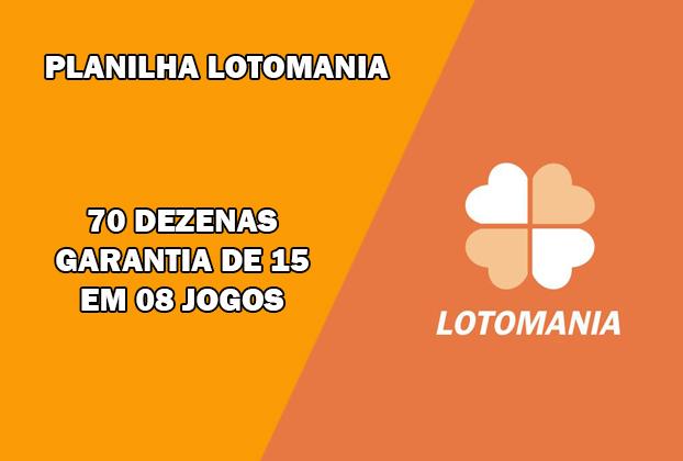 Com estaPlanilha da Lotomania você joga com 70 dezenas e tem a garantia mínima de 01 jogos com 15 pontos, se as 20 sorteadas estiverem dentro das 70 escolhidas.