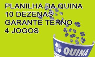 Planilha da Quina – 10 Dezenas – Garante Terno em 4 jogos