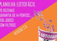 Planilha Lotofacil 20 dezenas com filtros - Versão 2.0