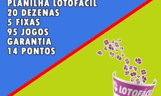 Planilha Lotofácil 20 dezenas com 5 fixas