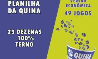 Planilha da quina com 23 dezenas - Versão econômica