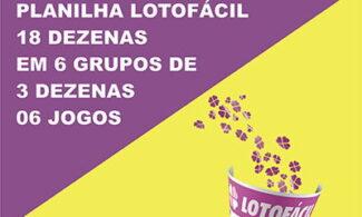 Lotofácil 18 dezenas em 6 grupos de 3