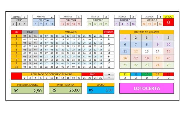 Planilha Lotofácil 23 dezenas em grupos de 4 com 3 fixas em 10 jogos