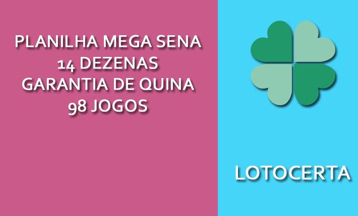 Planilha Mega Sena 14 Dezenas