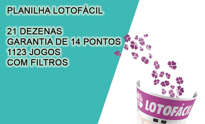 Planilha Lotofacil 21 dezenas