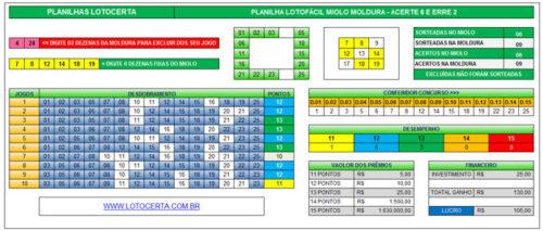 Planilha Lotofacil Miolo e Moldura acerte 6 erre 2