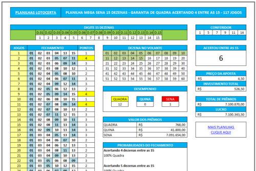 Planilha Mega Sena 15 dezenas garantia de Quadra acertando 4 - 117 Jogos